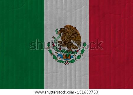 mexico cardboard flag - stock photo