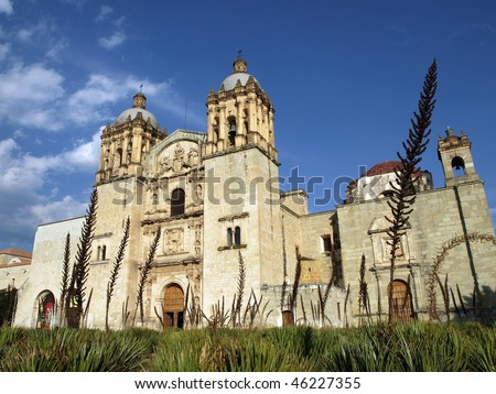 Mexico Church: Templo de Santo Domingo in Oaxaca under beautiful sky