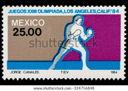"""MEXICO - CIRCA 1984: A postage stamp printed in Mexico showing an image of Olympic athlete, from the series """"Olympic Games, Los Angeles, 1984"""", circa 1984  - stock photo"""