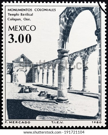 """MEXICO - CIRCA 1980: A stamp printed in Mexico from the """"Colonial Architecture """" issue shows Basilica, Cuilapan, circa 1980.  - stock photo"""