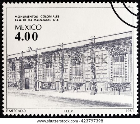 """MEXICO - CIRCA 1981: A stamp printed in Mexico from the """"Colonial Architecture """" issue shows Mascarones House, circa 1981. - stock photo"""