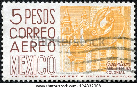 MEXICO - CIRCA 1980: A stamp printed in Mexico shows image of the dedicated to the Colonial Architecture of Mexico circa 1980. - stock photo