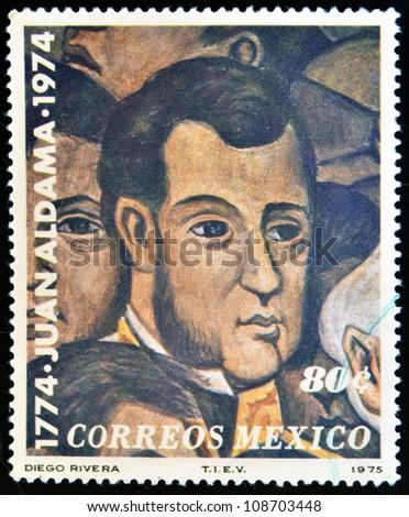 MEXICO - CIRCA 1975: A stamp printed in Mexico shows Juan Aldama portrait by Diego Rivera, circa 1975 - stock photo