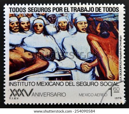 MEXICO - CIRCA 1978: A stamp printed in Mexico shows mural by Diego Alfaro Siqueiros, circa 1978 - stock photo