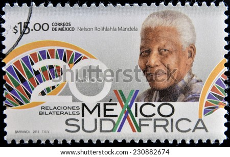 MEXICO - CIRCA 2013: A stamp printed in Mexico shows Nelson Mandela, circa 2013 - stock photo