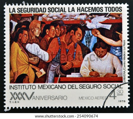 MEXICO - CIRCA 1978: A stamp printed in Mexico shows work of Diego Rivera, circa 1978 - stock photo
