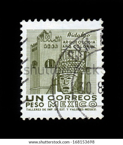 MEXICO - CIRCA 1964: A stamp printed in the Mexico, shows a stone figures of the ancient city of Tula, Hidalgo, circa 1964