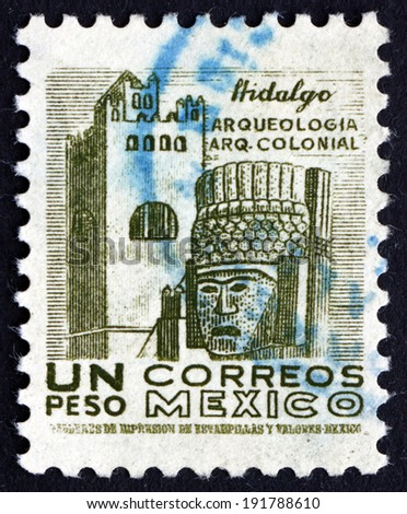 MEXICO - CIRCA 1950: a stamp printed in the Mexico shows Convent and Carved Head, Hidalgo, circa 1950 - stock photo