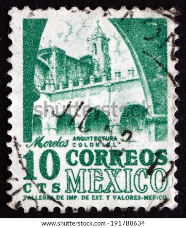 MEXICO - CIRCA 1950: a stamp printed in the Mexico shows Convent, Morelos, circa 1950 - stock photo