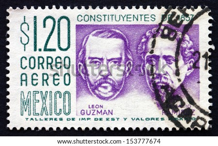 MEXICO - CIRCA 1956: a stamp printed in the Mexico shows Leon Guzman and Ignacio Ramirez, Centenary of the Constitution, circa 1956