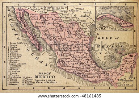 Mexico, circa 1880. See the entire map collection: http://www.shutterstock.com/sets/22217-maps.html?rid=70583 - stock photo