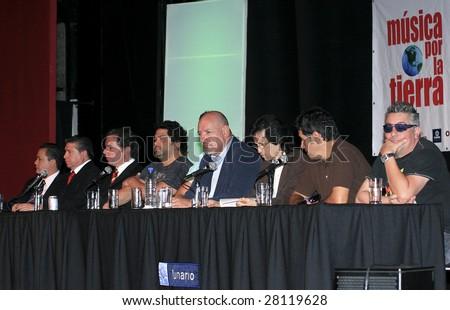MEXICO CITY - APRIL 6: (L-R) Alberto Carrillo, Oscar Abraham Lopez, Agustin Pumarejo, Iguana and  Javier, Adolfo Garcia Minutti, Sergio, Arturo and Mauricio Claveria April 6, 2009 in Mexico City. - stock photo