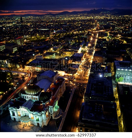 Mexico city at night. - stock photo