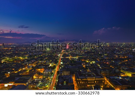 Mexico city at night high definition - stock photo