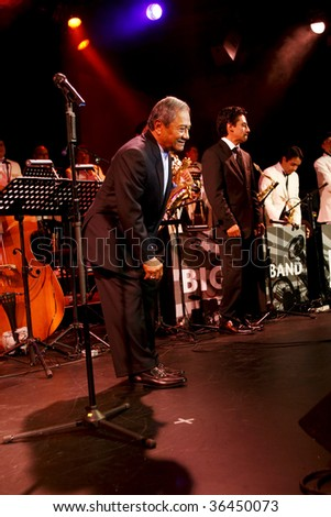 "MEXICO CITY - AUGUST 31: Composer Armando Manzanero and The Big Band Jazz of Mexico Performance of the new Album launch "" neither before or later"" at Mexico City., Mexico. August 31, 2009."