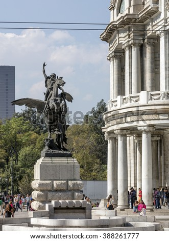 MEXICO CITY - DECEMBER 26, 2015: Entrance of the Museum of Fine Arts (Bella Artes)  one of the most prominent cultural centers in Mexico City..