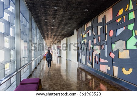 MEXICO CITY - DECEMBER 26, 2015: Interior of National Museum of Anthropology in Mexico City - the most visited museum in Mexico.