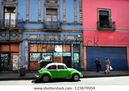 MEXICO CITY - FEB 23:Classic Mexican Volkswagen taxi on February 23 2010 in Mexico City, Mexico.The iconic beetle taxis taken off the streets by the Mexican transport department since March 2012 - stock photo