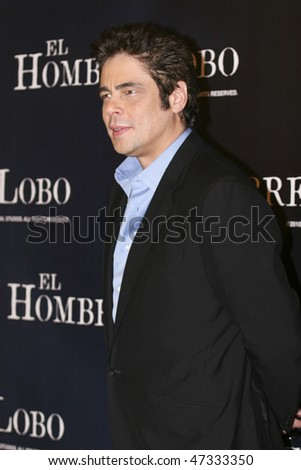 MEXICO CITY - FEBRUARY 08: Actor Benicio Del Toro attends 'The Wolfman' Mexico City press conference at the St. Regis Hotel on February 8, 2010 in Mexico City, Mexico. - stock photo