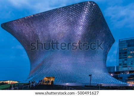 MEXICO CITY - JULY 15, 2015: Soumayo Museum (Museo Soumaya, designed by the Mexican architect Fernando Romero) in the Nuevo Polanco district of Mexico City, Mexico.