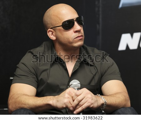 MEXICO CITY - MARCH 27: Actor Vin Diesel attends the 'Fast & Furious' photo call  & press conference at the Marriot Hotel on March 27, 2009 in Mexico City. - stock photo