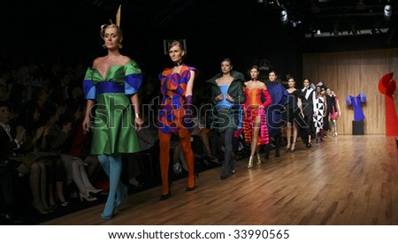 MEXICO CITY - MAY 21: Models walk the runway wearing Sebastian and Marialuisa Autumn/Winter 2009 during Mercedes-Benz Fashion Mexico Autum/Winter 2009 May 21, 2009 in Mexico City - stock photo