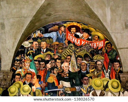 MEXICO CITY, MEXICO - AUGUST 20: Diego Rivera murales at government palace in Mexico DF on August 20 2005. Rivera was a prominent Mexican painter and husband of Frida Kahlo. - stock photo