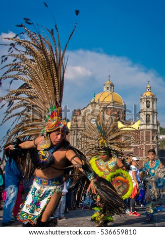 Stock Photo Mexico City Mexico December Celebration Of The Day Of The Virgin Of Guadalupe With A on Aztec Dancer In Mexico
