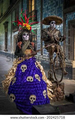 MEXICO CITY, MEXICO - November, 21, 2013: Mexico street musicians celebrating Dia de los Muertos or Day of the Dead  - stock photo