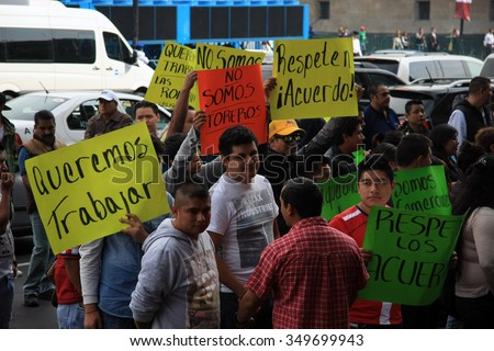 Mexico City, Mexico - November 24, 2015: Political protest in Zocalo Square, Mexico City