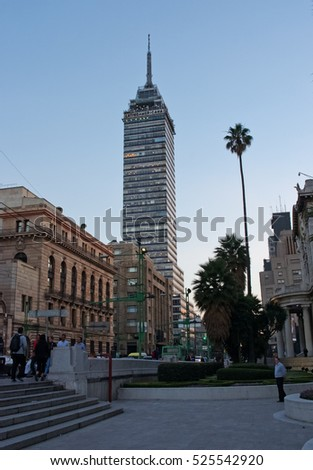 Mexico City, Mexico - November 28, 2016: View of Torre Latinoamericana ( Latin-American Tower) in Mexico City.