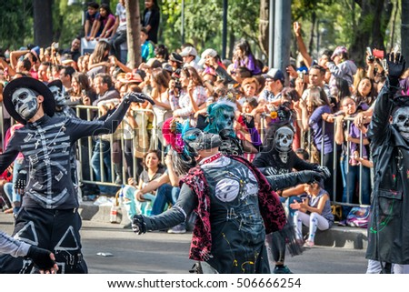 MEXICO CITY, MEXICO - OCTOBER 29, 2016 : Day of the dead parade in Mexico City