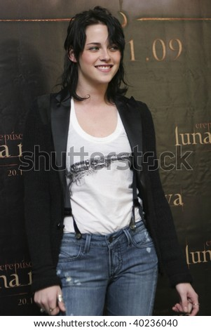 "MEXICO CITY-NOV 3: Actress Kristen Stewart attends the premiere for  ""The Twilight saga: New Moon"" Photo Call at 4 Seasons Hotel Mexico in November 3th 2009; Mexico City, Mexico. - stock photo"