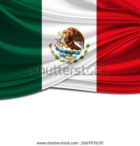 Mexico flag and white background