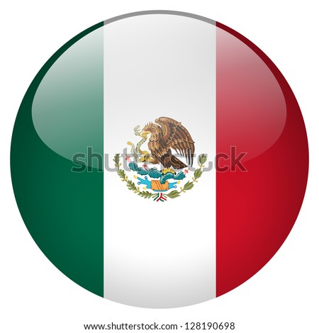 Mexico flag button - stock photo
