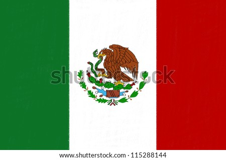 Mexico flag drawing by pastel on charcoal paper - stock photo