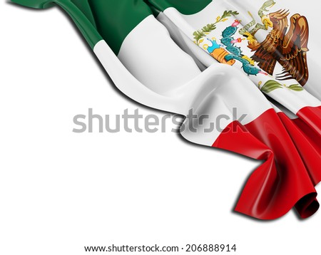 Mexico Flag folded with white - stock photo