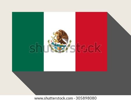 Mexico flag in flat web design style. - stock photo