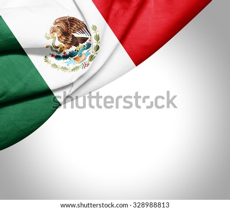 Mexico  flag of silk with copyspace for your text or images and white background