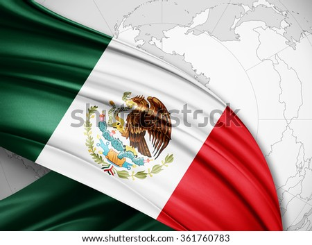 Mexico  flag of silk with copyspace for your text or images and world background