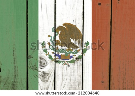 Mexico flag on wooden background - stock photo