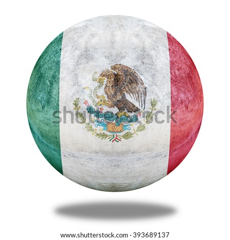 Mexico flag pattern on stone circle shape texture