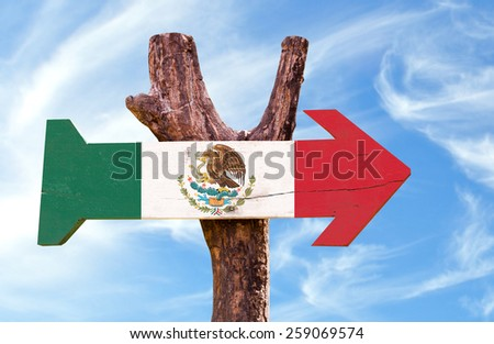 Mexico Flag sign with sky background - stock photo
