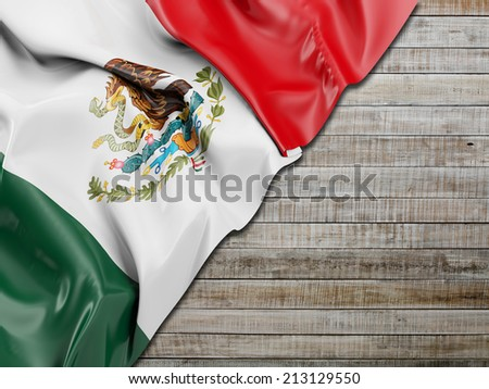 Mexico Flag Wavy with horizontal wood - stock photo