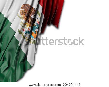 Mexico Flag with white - stock photo