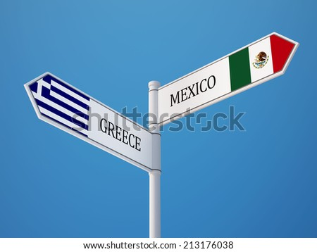 Mexico  Greece High Resolution Sign Flags Concept