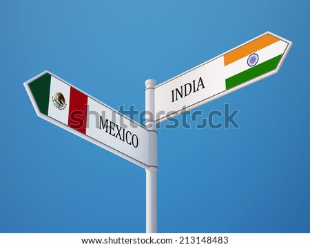 Mexico  India High Resolution Sign Flags Concept