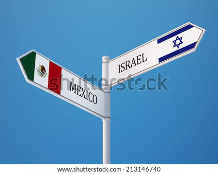 Mexico  Israel High Resolution Sign Flags Concept