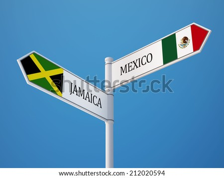 Mexico  Jamaica High Resolution Sign Flags Concept
