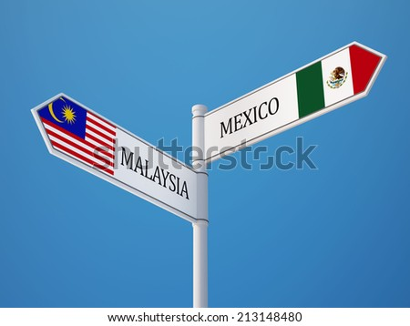 Mexico  Malaysia High Resolution Sign Flags Concept